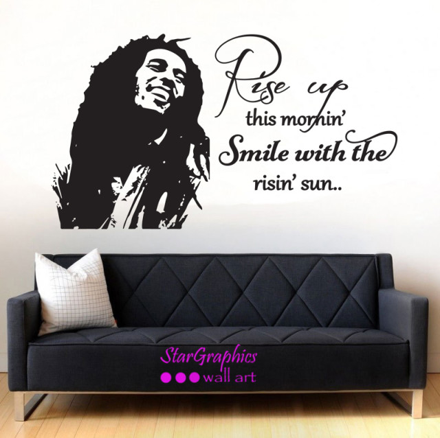Bob Marley Rise Up This Morning Wall Art Quote Vinyl Decal Sticker Decoration