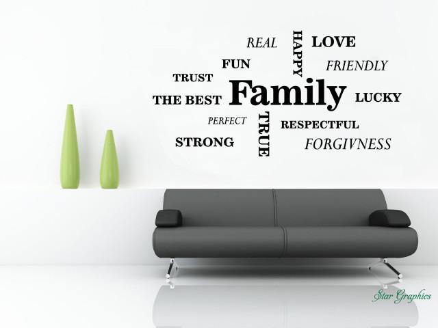 Family Love Hope Lucky Wall Art Sticker Vinyl Decal Home Decor Decoration