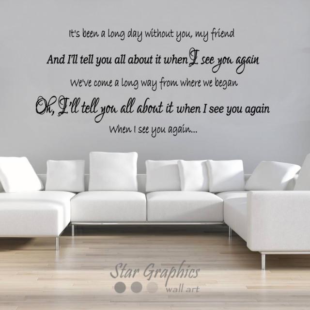 See You Again -Wiz Khalifa Lyrics Song Wall Art Vinyl Transfer Decal Sticker