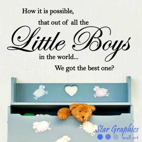 Best Little Boys Kids Nursery Wall Art Vinyl Decal Quote Sticker Mural Decor
