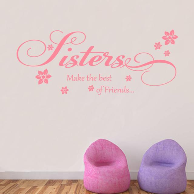 Sisters Best Friends Wall Art Quote Vinyl Transfer Kids Bedroom Decal Sticker
