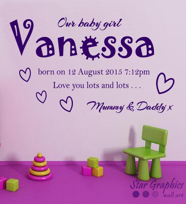 Personalised Baby Girl Name Date Kids Nursery Wall Art Vinyl Decal Quote Sticker