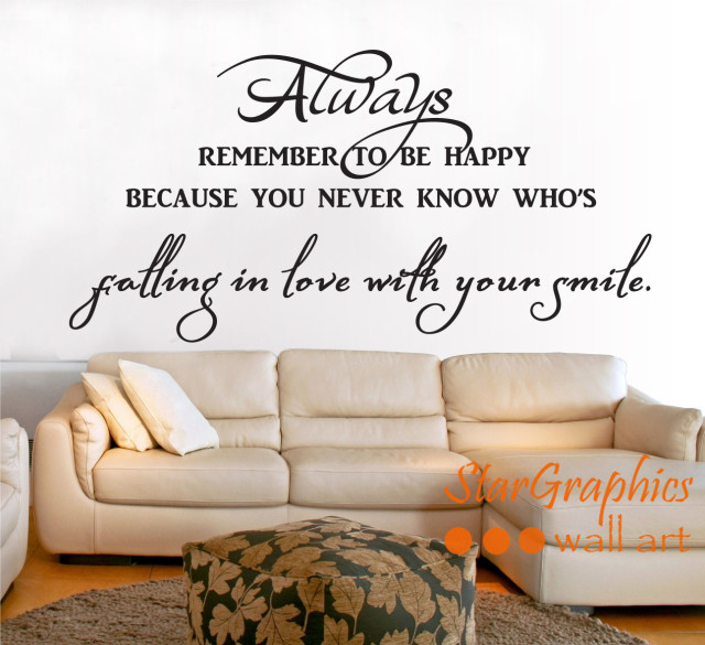 Always Remember To Be Happy Smile Wall Art Quote Vinyl Decal Sticker Decoration