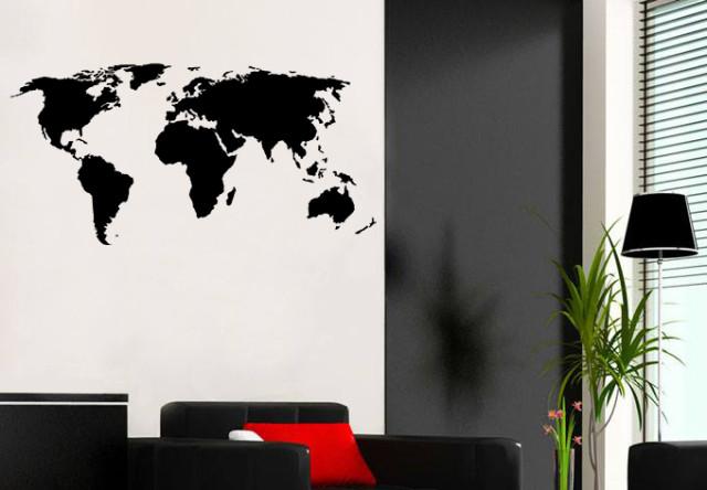 World Map Wall Art Vinyl Transfer Decal Sticker Home Decor Livingroom Bedroom Mural DIY