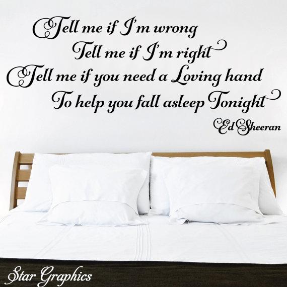 Ed Sheeran Cold Coffee Song Music Lyrics Quote Vinyl Wall Art Sticker Decal DIY