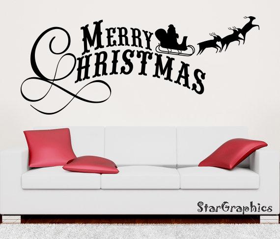 Merry Christmas Santa Claus Wall Art  Vinyl Transfer Decal Sticker Mural DIY