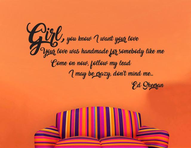 Ed Sheeran Shape Of You Music Song Lyrics Wall Art Quote Vinyl Decal Sticker Mural Valentine's Day Gift Birthday Wedding Anniversary Any Occasion Gift DIY
