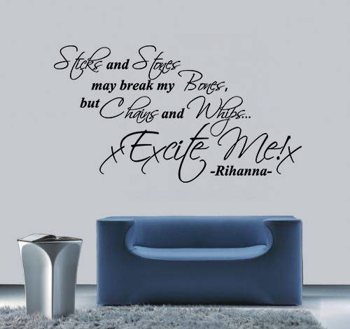 Rihanna S & M Lyrics Wall Art Song Quote Vinyl Decal Sticker Mural Bedroom Decoration Wedding Birthday Anniversary Gift DIY
