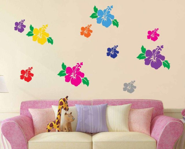 Hibiscus Flowers Girls  Bedroom Wall Art Quote Vinyl Decal Sticker Mural Decoration Wedding Birthday Anniversary Gift DIY