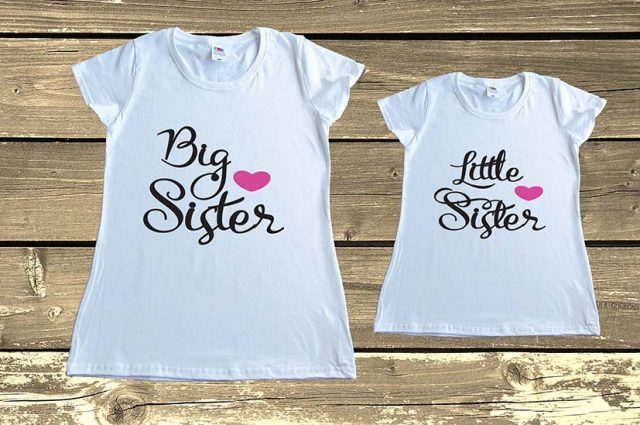Big Sister Little Sister T shirts Set Matching Sisters Outfit Gift Family Tees Clothing